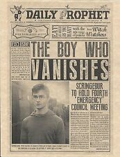 Harry Potter The Daily Prophet The Boy Who Vanishes Flyer/Poster Prop/Replica