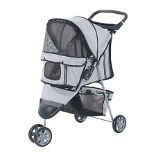Grey 3 Wheel Pet Dog Puppy Cat Jogger Stroller Pushchair Buggy Pram Carrier Cart