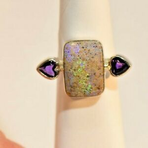 Louisiana Opal & Amethyst ,Sterling Silver Hand Made Rectangle Ring+ Post cards