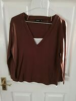 WHISPER WOMENS BROWN LONG SLEEVE TOP SIZE 10 MEDIUM PIT TO PIT 18 V NECK