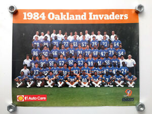 OAKLAND INVADERS USFL Football Team color poster 1984 - free shipping