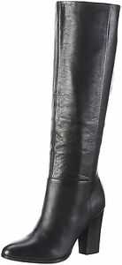RRP £160 ALDO SIZE 7 40 MANSI BLACK REAL LEATHER KNEE HIGH BOOTS BNWB