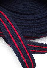 Striped fabric braid trim 18 mm 3/4 inch 10 METRES dress-making craft NAVY RED