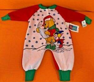 Vintage 90's Winnie The Pooh One Piece Blanket Sleeper Footsie Pajamas 0-6 month