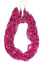 "& Bronze Seed Beads Choker & Wires Necklace/Earrings Set 17"" Bright Pink & White"