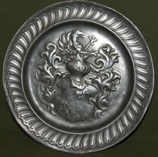 Vintage hand made ornate pewter wall decor plate