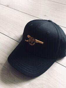 New Arsenal Fc Adult Black Baseball Cap Hat Gold Adjustable Fit.