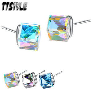 TTStyle 925 Sterling Silver Made with Swarovski Crystal Earrings NEW A Pair