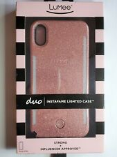 LuMee Duo Phone Case, Rose Glitter | Front & Back LED Lighting iPhone Xs Max
