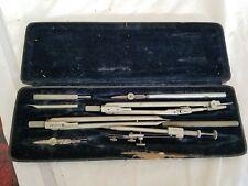 Vintage Richter Precision 8 Piece Drafting Tool Kit Set w/ Damaged Case