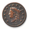 1831 1c Coronet Head Large Cent One Penny US Medium Letter