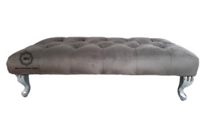 Grey Plush Velvet Footstool Chesterfield Diamond Tufted Bench Free Delivery