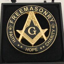 New Freemason Masonic Faith Hope Charity Lapel Pin in Black and Gold Tone
