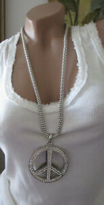 New Women's Necklace Peace Long Rhinestone Silver Necklace Pendant Nickel-Free