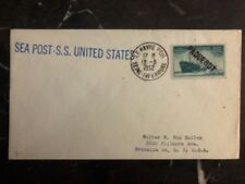1952 USA Paquebot Cover Seapost Ss United States Le Havre To New York