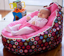 Baby Bean Bag - Pre filled With 2 Removable Covers & Harness - Pink Polka Dots