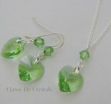 14mm Heart Necklace Earring Set made with Swarovski Peridot & Sterling Silver