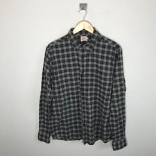 Faherty Mens Button Down Shirt Gray Plaid Cotton Flannel Size Medium