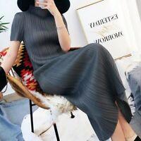 pleated straight cut midaxi casual dress turtleneck short-sleeve dress UK 8 | 10