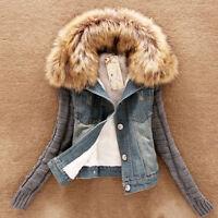 Damenjacke Jeansjacke Jeansmantel Jeans Blazer Jacke Winterjacke Mantel Gr:L-4XL