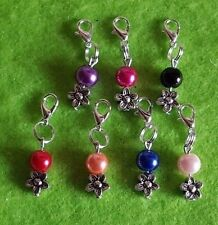 Clip On Charms Purse/Cat/Dog Collar Flower Small Coloured Pearl Bead + Gift Bag