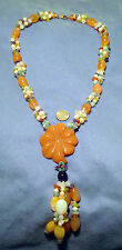 Beaded necklace semiprecious beads 3 str carnelian flower pendant tassel fj014