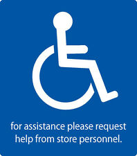 """Handicap ADA Label Decal """"for assistance request help from store personnel"""""""