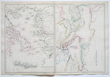 GREECE GRECIAN ARCHIPELAGO MEDITERRANEAN 1859 GENUINE ANTIQUE MAP BLACKIE