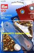 OCCHIELLI con RONDELLE 8mm PRYM 541375 ORO + DIME occhiello vela metallici