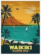 Hawaii waikiki Vintage painting art Travel Poster Print For Glass Frame 90cm