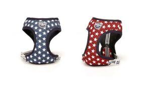 Hugo & Hudson Star Dog Puppy Harness - Navy/Red - XS/S/M/L