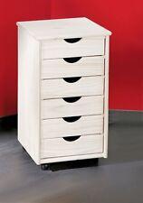 Rollcontainer, Büro-Container Simon Kiefer massiv Weiß Lackiert
