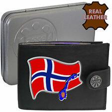 NORWAY para hombre de cuero cartera Noruega Bandera Mapa Y Emblema Mans Regalo Norge Noreg Estaño