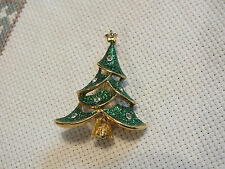Tree Glitter Enamel Clear Rhinestones Collectible Brooch Pin Gold Tone Christmas