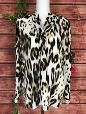 Worthington Blouse Extra Large Black Brown Cheetah Leopard Animal Bow Career