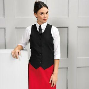 Ladies Womens Black Lined Waistcoat Collar Formal Vest Gilet Waitress Uniform