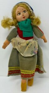 """Vintage Tagged Norah Wellings Swiss Girl Cloth Toy 8"""" Doll Made In England"""