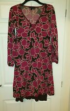 Ladies Boden Dress Size 12 pink & brown floral inside STRAPPY dress 100% wool