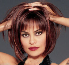 Women short hair wigs wine red mix Natural Hair Full wigs Child + Free wig cap