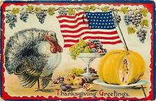 Thanksgiving~Turkey~Flag Flying Backwards~Sliced Pumpkin~Grape Vine~Emb~Germany