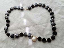 Vintage 14k large solid gold black onyx maybe pearl necklace