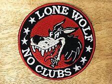 Lone Wolf No Club Biker Iron On Back Patch Motorcycle Chopper Vest Rocker DIY
