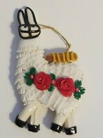 """Hand Made Handcrafted 5"""" Pottery Llama Christmas Ornament w/Red Roses&Backpack"""