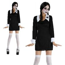 Ladies Creepy School Girl Costume Wednesday Family Halloween Fancy Dress New