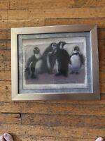 """Karen Thorsen C H A R C O A L  &  P A S T E L Painting Framed """"Penguins"""""""