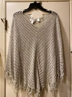 CJ Banks Pullover Shawl  Cardigan Sweater One Size Fits All Beige Off White Boho