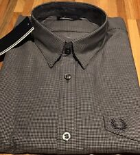 """Fred Perry : Micro Gingham Shirt ( L  42"""") Black"""