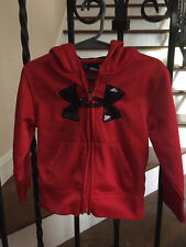 Toddler Boy's Size 2T Under Armour Track Hoodie Jacket Zip-up Red Large Logo