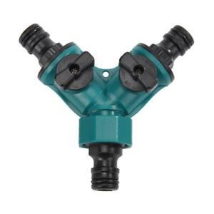 2 Way Garden Hose Pipe Y Shape Splitter Adapter Plastic Connector Irrigation Kit