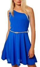SeXy Miss Damen Mini Kleid One shoulder Dress 34/36/38 blau Gürtel gold NEU